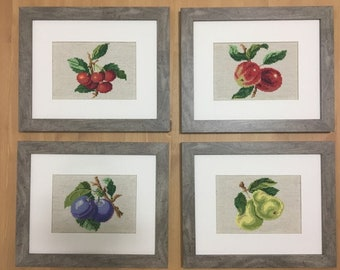 Assortment of 4 cross stitch picture/Handmade/Exclusive/Nature/Kitchen/Modern art/Room wall decor/Frame/Pears, Cherry, Apple, Plums