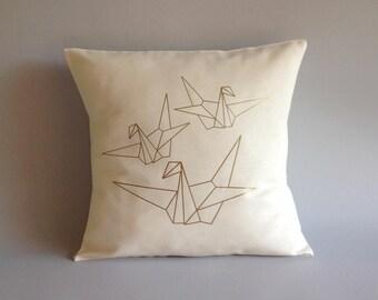 Metallic Gold origami birds pillow cover - origami birds cushion - Abstract throw pillow origami birds- 16x16, 18x18, 20x20, 24x24, 26x26 -