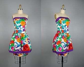 Vintage 1980s Printed Floral Taffeta Dress 80s Funky Bright Floral Print Strapless Mini Dress by A.J. Bari Size M