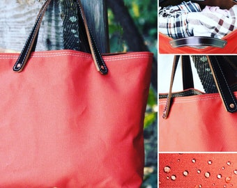 Water Resistant Tote - TerraCotta canvas + Leather handles 010075