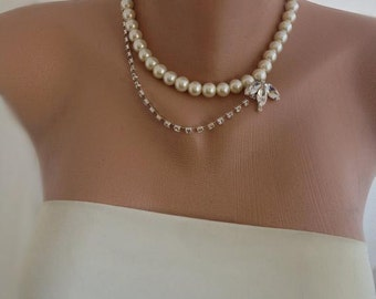 Ivory Glass Pearls and Rhinestone Bridal Necklace Brides Bridesmaids Gifts Maid of Honor