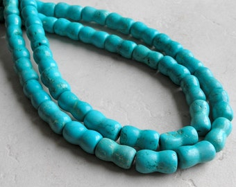 Turquoise Magnesite Beads Hourglass Shaped For Beaded Jewelry Making Metaphysical Healing Stone