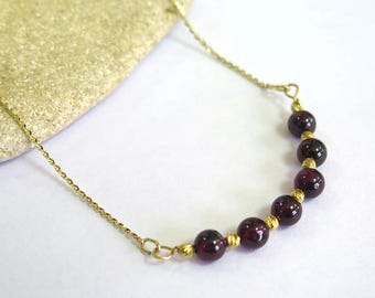 14K Gold Garnet Necklace - Garnet Necklace - Dainty Necklace - Gemstone Necklace - Beaded Necklace - Gold Necklace - January Birthstone