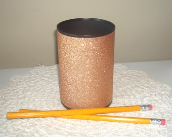 Rose Gold Glitter Desk Accessories, Bling Pencil Holder, Desk Organizer, Rose Gold Office Decor, Glitter Dorm Decor, Makeup Organizer 1094