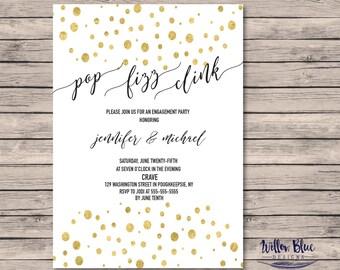 Pop Fizz Clink Engagement Party Invitation #601, 5x7 , Printable Invitation, Engagement Party Invitation