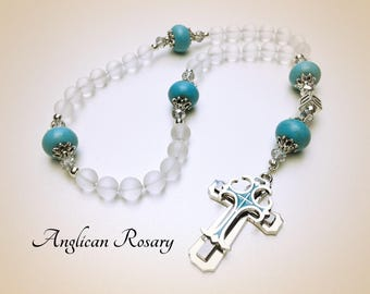 Personalized Anglican Rosary. Christian Rosary. White & Blue Rosary. Anglican Prayer Beads. White Rosary. Episcopal Rosary. Christian #AR14