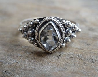 Sterling Silver Natural Herkimer Diamond 925 Ring Size 8 - double-terminated quartz crystal ring - Natural Stone Ring size 8 - Diamond ring