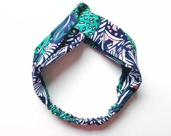 Phyllis Fabric Headband - Turban headband - Cactus Print - Boho headband - Womans headband - Adult headband - Navy fabric headband