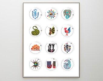 Printable CALENDAR 2017 Christmas Gift - ROUND CALENDAR Love Birds and Trees of Life - wall art calendar gift print poster for New Year Gift