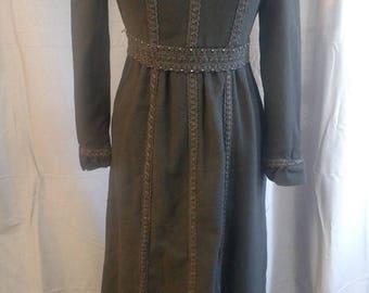 Vintage Marion Digney Black Wool Goth Dress 1960s / Vintage NYC Designer Dress Size Small 4/5