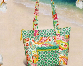 TAHITI TOTE Purse Pattern   Lots of Pockets * Easy Zipper Top   BY: Pink Sand Beach Designs  #118