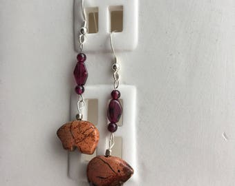 Zuni Bear and Garnet Earrings