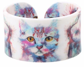 Watercolor Cat ~ Owl Cuff Bracelet ~ Kitty Jewelry ~ Owl Bracelet