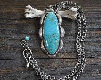 The Weight of Love - Kingman Turquoise and Sterling Silver Handmade Artisan Silversmith Southwestern Necklace
