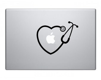 Stethoscope Heart Macbook Decal Macbook Sticker Mac Decal Mac Sticker Decal for Apple Laptop Macbook Pro / Macbook Air