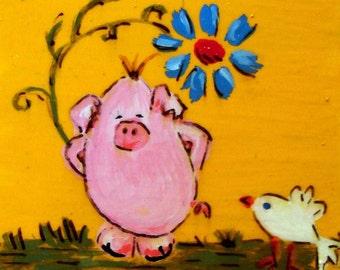 A Piggy card (No47) - Original Mini Paint Acrylic on Paper