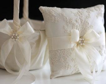 Ivory Ring Bearer Pillow, Ivory Flower Girl Basket, Pillow Basket Set, Ivory Wedding Basket, Ivory Wedding Pillow, Rose wedding basket