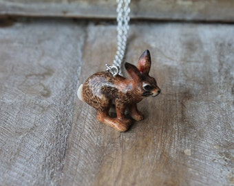 Brown Rabbit-Bunny hand painted ceramic personalized necklace
