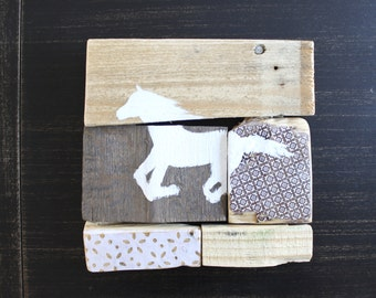 Horse on reclaimed wood. Patchwork. Assembly of wood. Art on pallet wood. Collage. Rustic style. Child's room. 8 x 8 in.