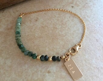 EMERALD  Bracelet Personalized bracelet  Gemstone Bracelet Best Friend Gift Emerald Jewelry Ombre Gold Bracelet Gift for Mom Bridesmaid Gift