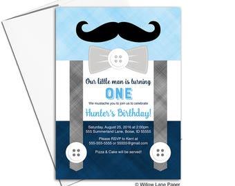 boys birthday party invitations, 1st birthday invitation boy, little gentleman birthday invitations printed, navy birthday invite - WLP00366