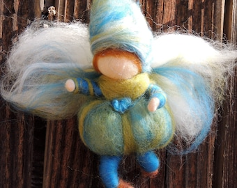 For Pauline - Fairy Boy Bendy Needle felted wool soft sculpture Elf -Waldorf Inspired by Rebecca Varon