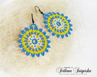 Blue and yellow Circle bead earrings Blue bead earrings Yellow bead earrings Huichol earrings Huichol beaded Mandala earrings Bead mandala