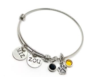 Mizzou Bangle Bracelet - College Adjustable Bangle Bracelets - Graduation Gift Ideas - Personalized College Gifts - Personalized