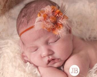 Orange Headband Photography Prop Baby Flower Headband Orange Newborn Halloween Headband Baby Head Band Feather Headband Newborn Photo Prop