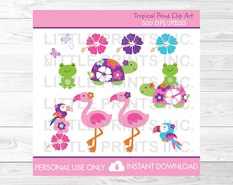 Turtle Cipart / Frog Clipart / Flamingo Clipart / Tropical Clipart / Tropical Baby Shower / PERSONAL USE Instant Download A367