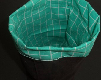 small dish or planter in green and Brown fabric reversible 23 cm x 19 cm