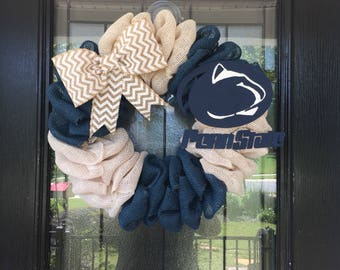 Burlap Wreath navy and white burlap; Penn State wreath, everyday wreath
