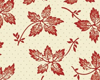 Sara Morgan for Blue Hill Fabrics, Garibaldi 2, Leaves on Dots in Red 7645.2 - 1 Yard Clearance