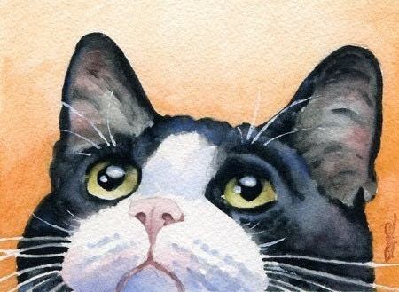 TUXEDO CAT Art Print by watercolor Artist DJ Rogers
