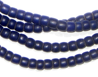 115 Old Turkana Beads from Kenya - Navy Blue African Glass Beads - Jewelry Making Supplies - Made in Kenya ** (TRK-CYL-BLU-103)
