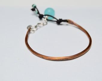 Copper Bangle . Leather . Gem Stone .  Sterling Bracelet . Rustic . Leather . Brass Eyelets. Handmade . NinandBumm