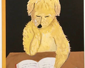 Postcard featuring a famous 'New Yorker' cover. Teddy Reading - February 1999. BIG discount for multiple purchases!!