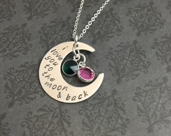 I Love you to the Moon & Back - Hand stamped jewelry - Gift for her - Moon Necklace - Personalized Jewelry - Say Anything Jewelry