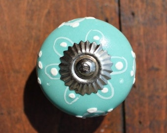 Aqua Ceramic Drawer Knobs - Ceramic Cabinet Knob with Embossed dots in white (CK35)