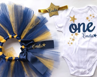 Twinkle Little Star First Birthday Outfit for Baby Girl in Navy and Gold Glitter, Tutu, Bodysuit, Headband