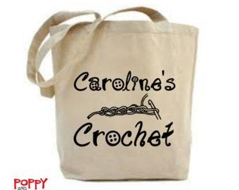 Personalized Yarn Bag, Crochet Bag, Crochet Project Bag, Bag for Crochet, Gift for Crocheter, Craft Bag, Crochet Quote, Shoulder Bag.