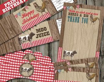 Old MacDonald Party, On The Farm Birthday, Old MacDonald Farm PRINTABLE Party Kit, Petting Zoo Party Kit, Petting Zoo Birthday Kit