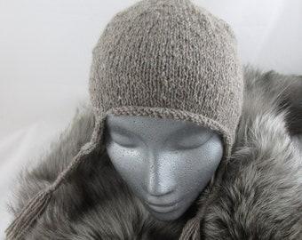 Hand Knit Alpaca and Wool Ear Flap Hat
