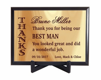Best Man Custom Plaque Gift, Thank You Gift for BestMan from Couple, Wedding Favors, Wedding Party Appreciation Gifts, PHW005