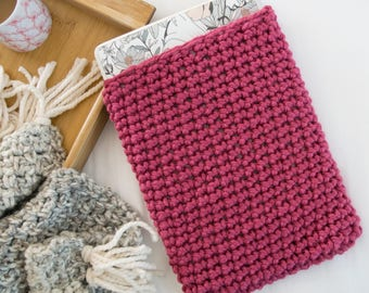 Pink Laptop Sleeve - Knit Laptop Cozy - Chunky Knitted Crochet Bright Pink Macbook Air Case