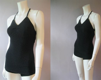 Vintage Knit Swimsuit ,1930s Wool Knit One Piece Bathing Suit, 30s Size S, Skirted Bathing Costume