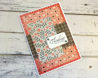 Thinking of You Card, Stamped Card, Greeting Card, Blank Card, Embellished Card, Card for Her, Thinking of You, Pink and Brown Floral Card