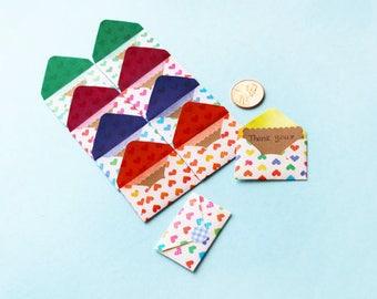 10 Tiny Creative Heart Envelope Thank You Card Set - Mini Card Set - Love Note - Thank You Note