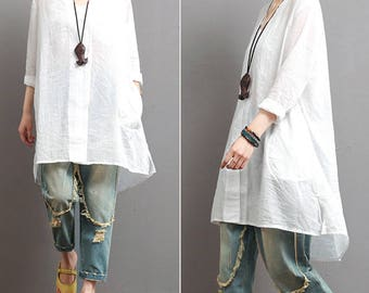 Loose white shirt long sleeve cotton top spring linen top maxi shirt cotton blouse shirt blouse linen clothing