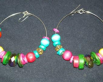 Hand designed Multistoned Hoop earrings